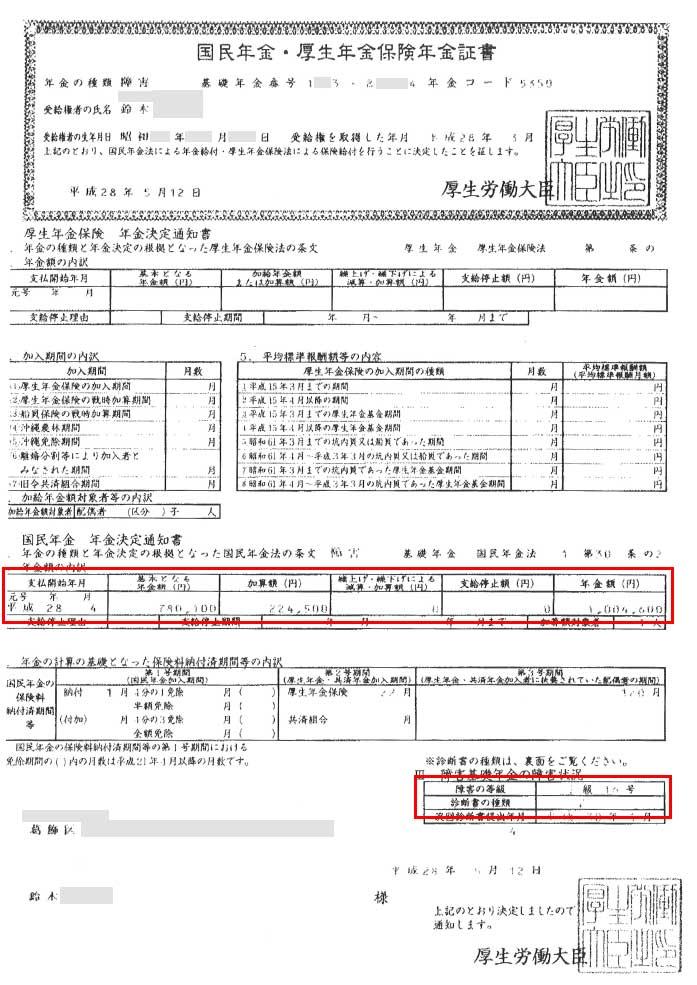 鈴木様の年金証書