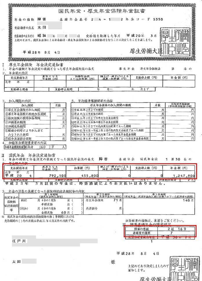 太田様の年金証書
