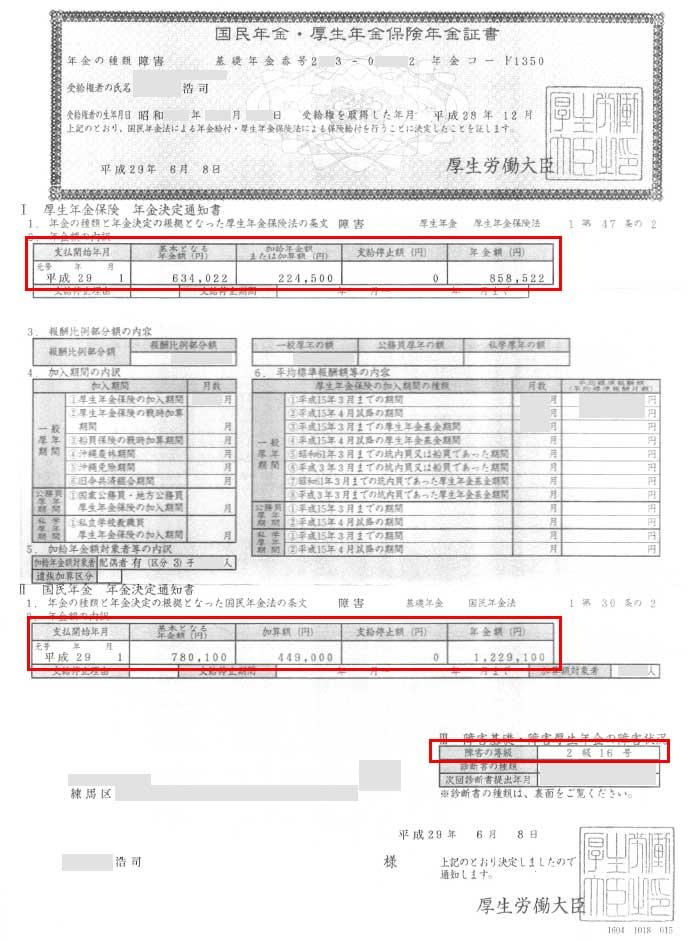浩司様の年金証書