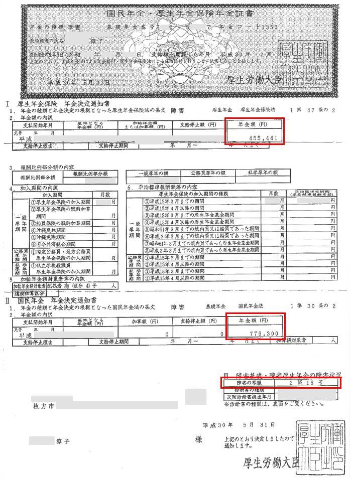 淳子様の年金証書