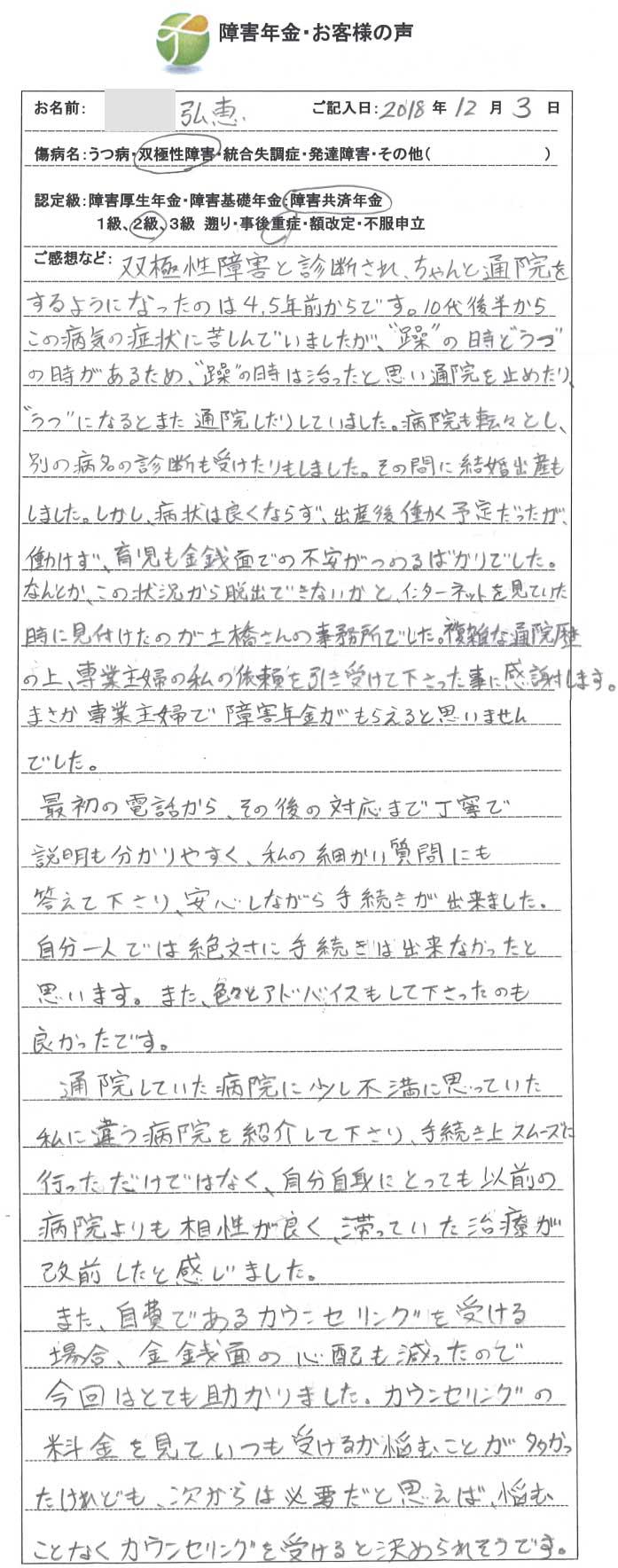 弘恵様のご依頼から申請までの経過
