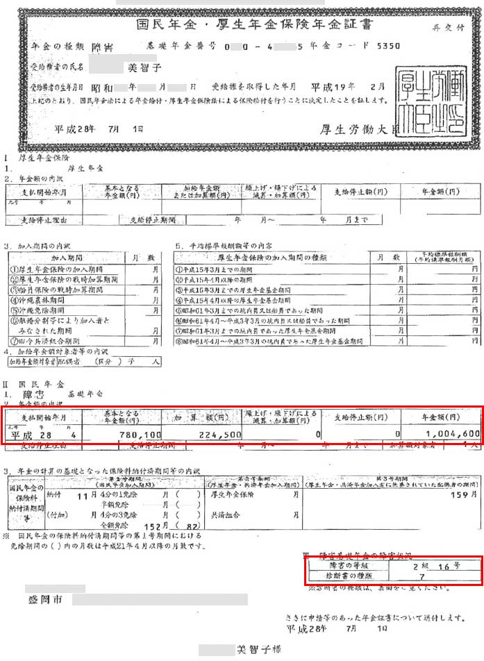 美智子様の年金証書