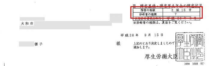 優子様の年金証書