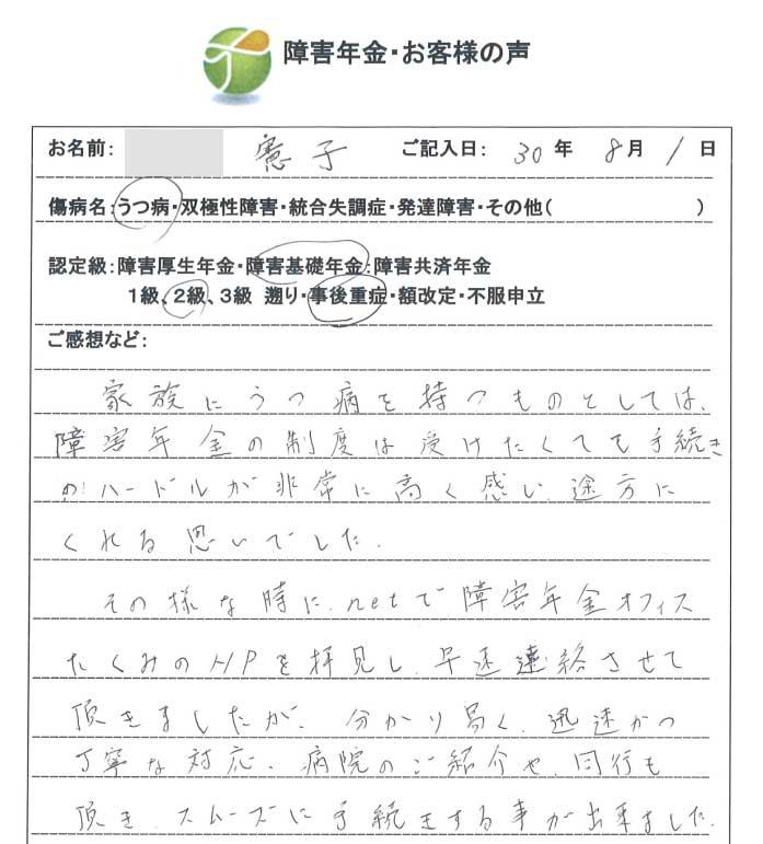 憲子様のご依頼から申請までの経過