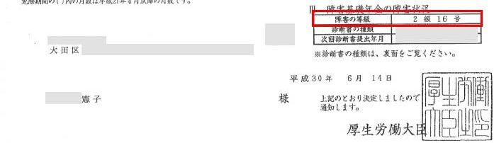 憲子様の年金証書