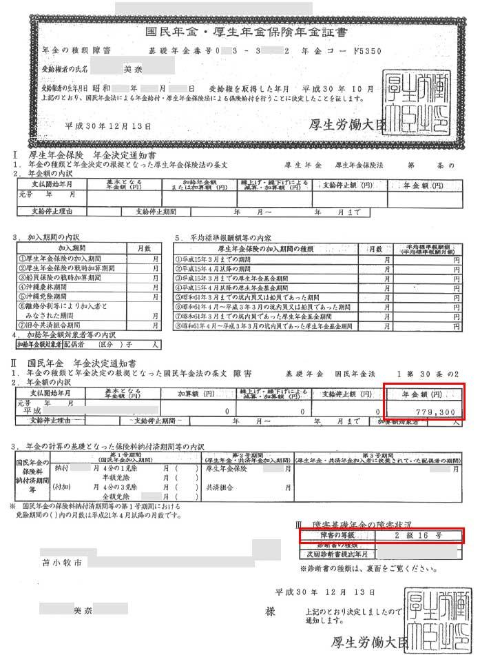 美奈様の年金証書