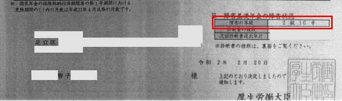 智子様の年金証書