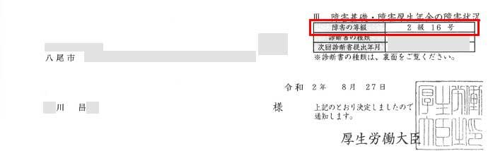 川昌様の年金証書